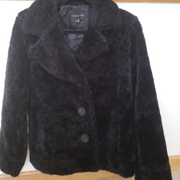 Black fuzzy coat sz medium